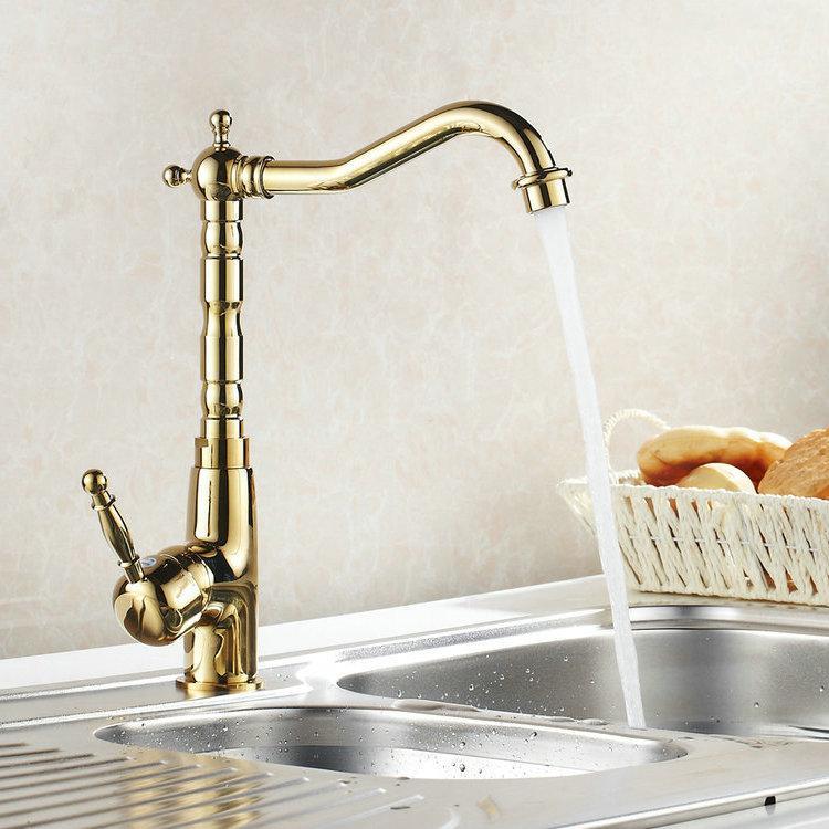 Atacado - Auswind antique bronze ouro torneira giratória torneiras torneiras de banheiro pia bacia mixer torneira
