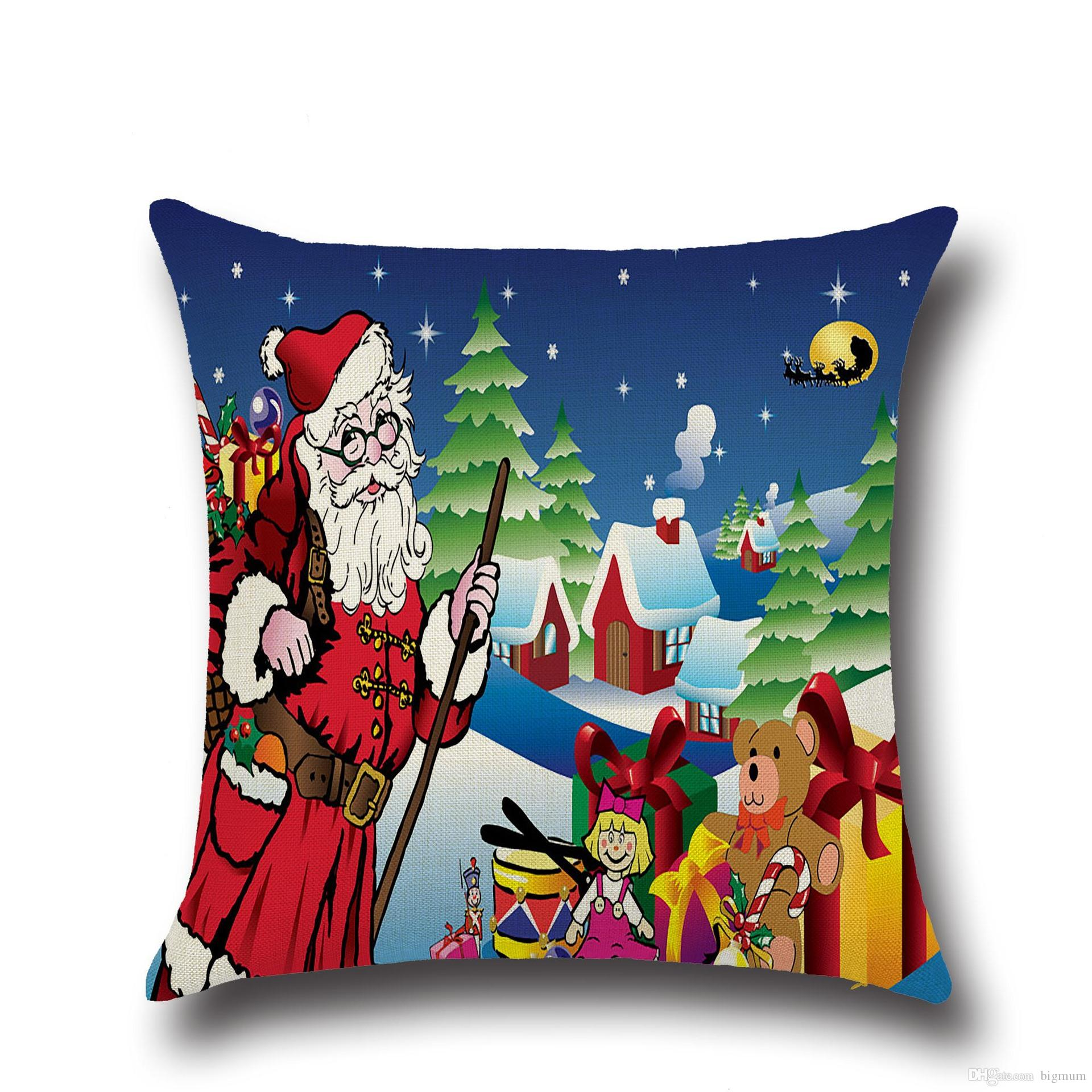 Merry Christmas Pillow Cases Hot Selling Gifts Tree Santa Claus Snowman Linen Prited Throw Cushion Covers Home Decor
