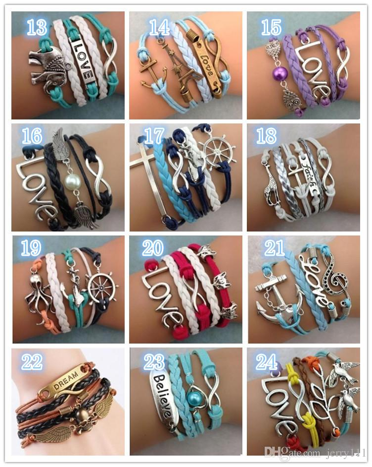Leather Bracelet Antique Cross Anchor Love Peach Heart Owl Bird Believe Pearl Knitting Bronze Charm Bracelets 30 colors TA134