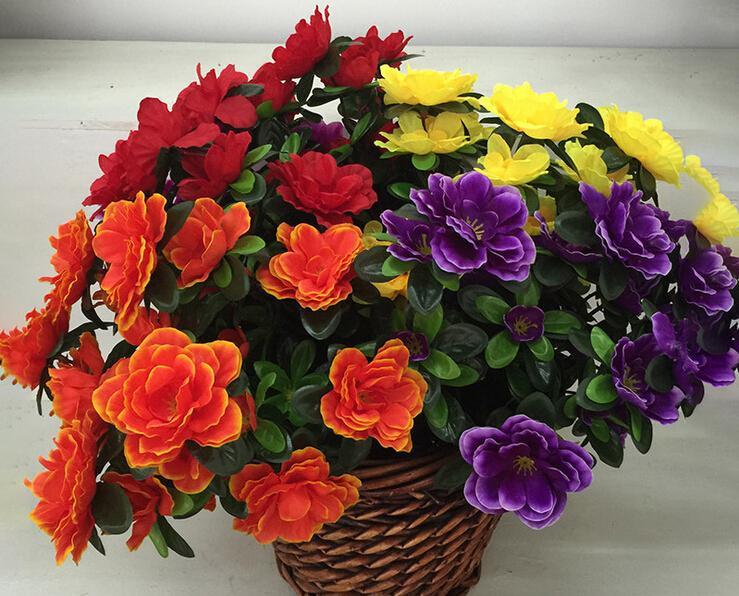 Azaléia Flor 40 cm Comprimento Artificial Flores Azaléias 6 Peças por Grupo para o Centro De Casamento