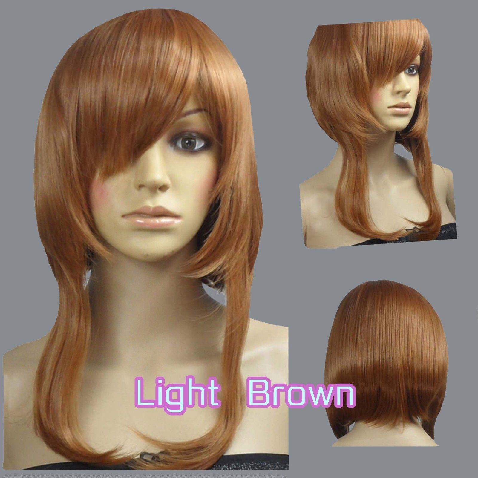 Parrucche cosplay a taglio vivo e striato di colore marrone chiaro da 40 cm 73_LLB