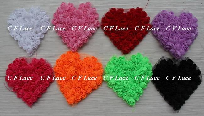 Бесплатно США ePacket / CPAP 40 шт. 8 цветов 7x7cm шифон Роза сердце аппликация, шифон сердце патч, аксессуары для волос