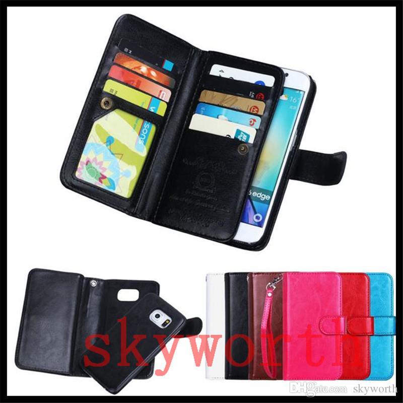 iphone 11 x XS XR Max Artı Samsung Galaxy Note için 10 S9 S10 Artı Cüzdan Kılıf Manyetik Ayrılabilir 9 Kart Yuvası