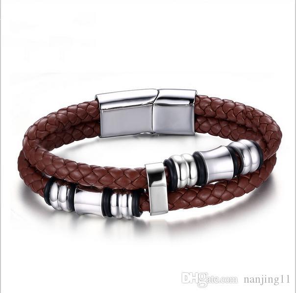 """Homens jóias Vintage Leather Bracelet Enrole Banda Duplo corda trançada de aço inoxidável Bangle Brown com 8"""" polegadas BL-055"""