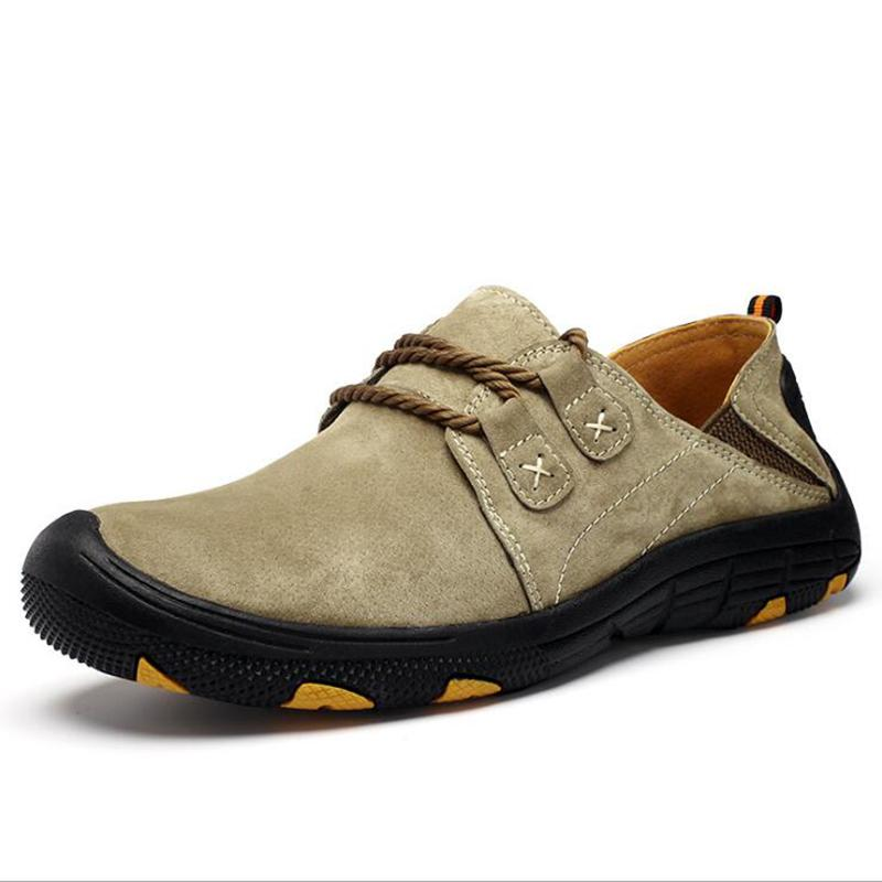 New Brand Genuine Leather Men Shoes Casual Outdoor Soft Working Oxford For Men Big Size Mens Walking Flats Shoes Sale