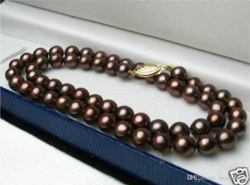 """Подлинная штраф 20 """" 8-9 мм Южное море шоколад жемчужное ожерелье 14k"""