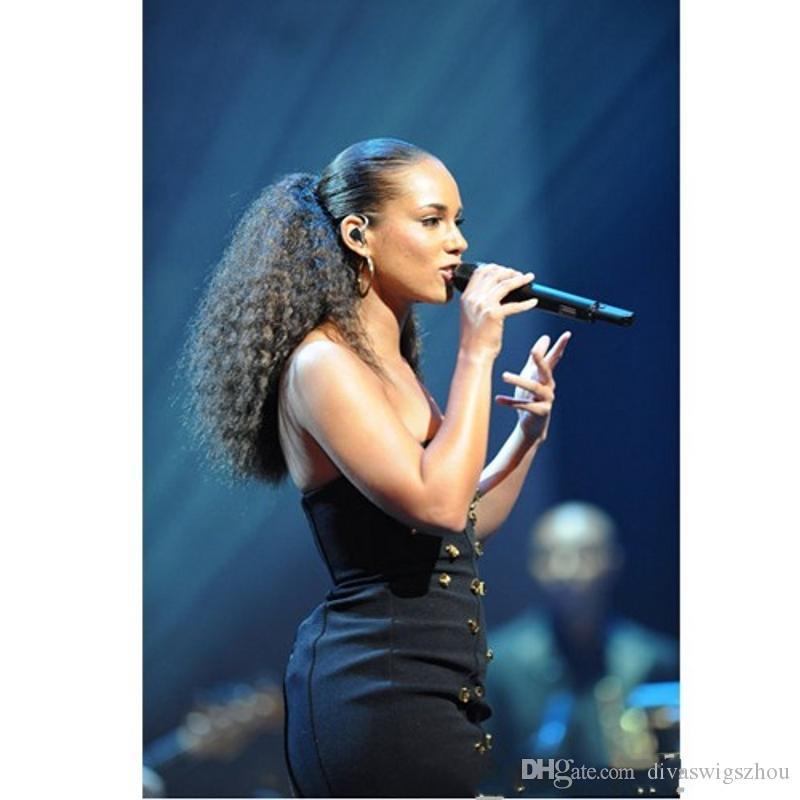 Afro Kinky Curly Human Hair Ponytail For Black Women Brazilian Virgin Hair Drawstring Ponytail Hair Extensions 10-24 inch 140g