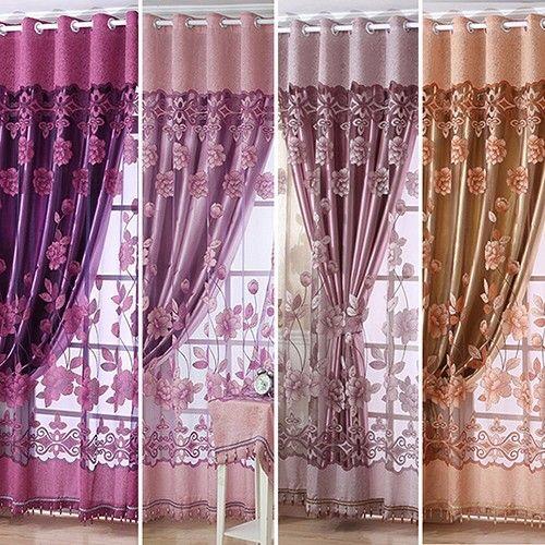 Simple modern European-style high-end sheer floral voile tulle rod pocket curtain fine window curtain drape valance