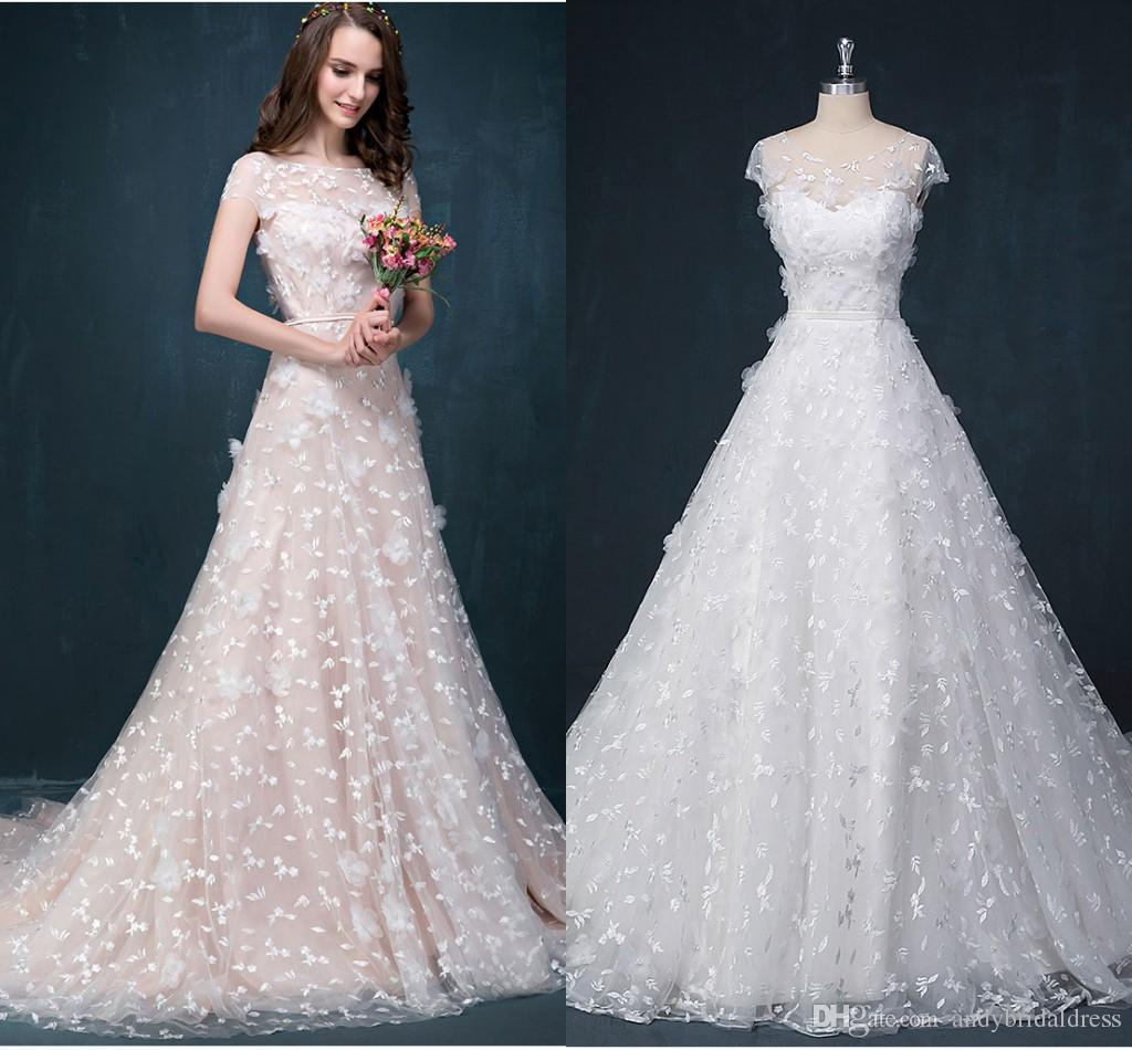 A-Line Cap Sleeves Lace Wedding Dresses For Bride 2019 Illusion Top Petals Decorated Long Bridal Wedding Gown With Court Train ADW001