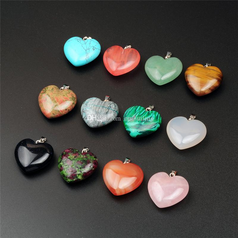 10pcs 24*25mm Heart Shape Healing Chakra Beads Crystal Quartz DIY Stone Random Color Gemstone Pendants for Necklace Earring Jewelry Making