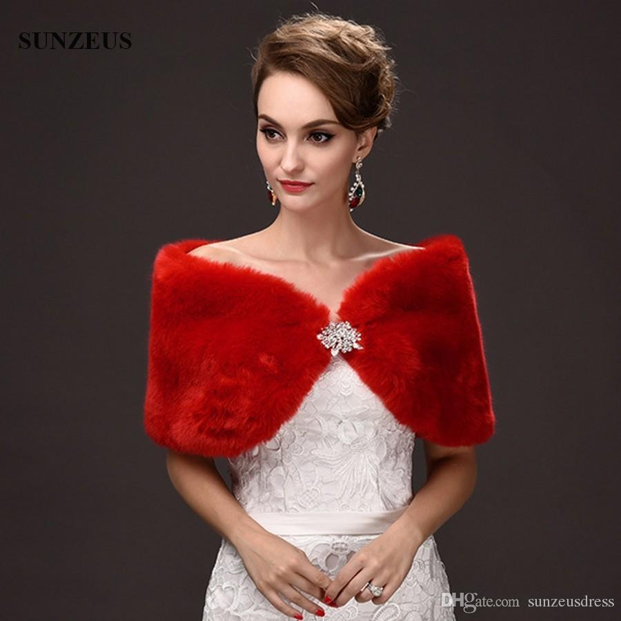 여자 겨울 케이프 레드 이브닝 쇼울 짧은 여성 웨딩 볼레로 Formele Avond Warm Faux Fur Bridal Wraps 랩