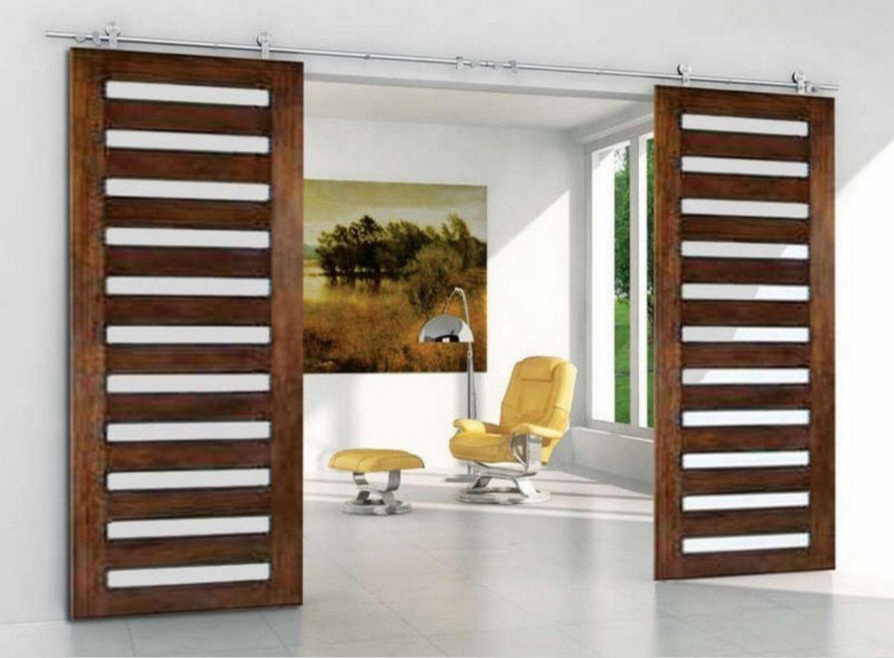 Barre Pour Porte Coulissante acheter installation facile double porte coulissante en bois grange  bipartie de 46,29 € du homedecor1 | dhgate
