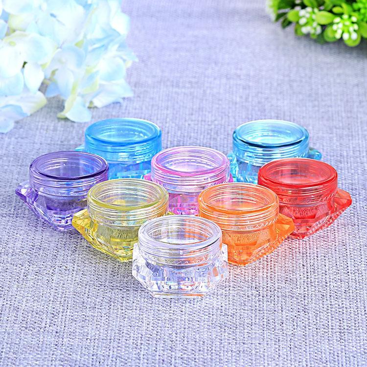 100 pçs / lote Mix Color 5g Creme De Plástico De Diamante Jar Recarregáveis cosméticos cor branca creme para o rosto vazio jarro de creme de plástico jar