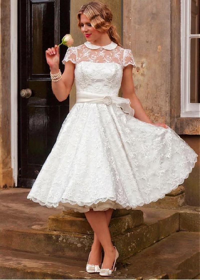 princess 1950's vintage wedding dresses new short sleeve lace sash  transparent bridal gowns appliques custom made hollow tea length romantic