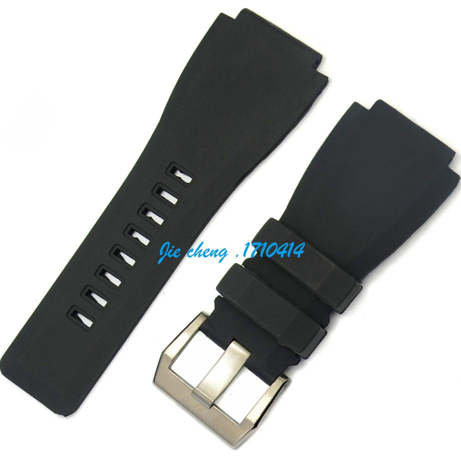 JAWODER Watchband 24mm New High-quality Stainless Steel Silver Buckle Black Diving Silicone Rubber Watch Band Strap for BR WATCH