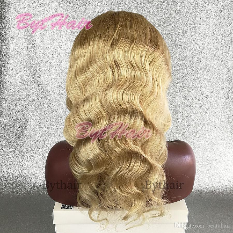 Bythair Bleached Knots Blonde #613 Color Body Wave Human Hair Glueless Full Lace Wigs Brazilian Human Hair Lace Front Wigs With Baby Hairs