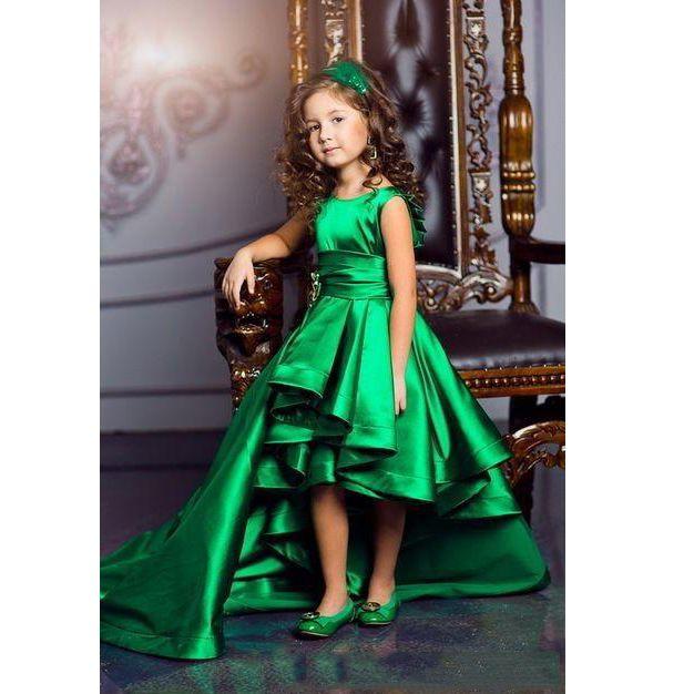 Nova Chegada Emerald Green Girls Pageant Vestidos de Alta Princesa Low Princesa Flor Meninas Vestidos Para Casamentos Adorável Crianças Comunhão Dress