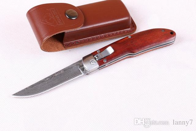 Şam Çelik Bıçak Oto Taktik Katlanır Bıçak 60HRC Gülağacı Kolu EDC Cep Bıçaklar Deri Kılıf