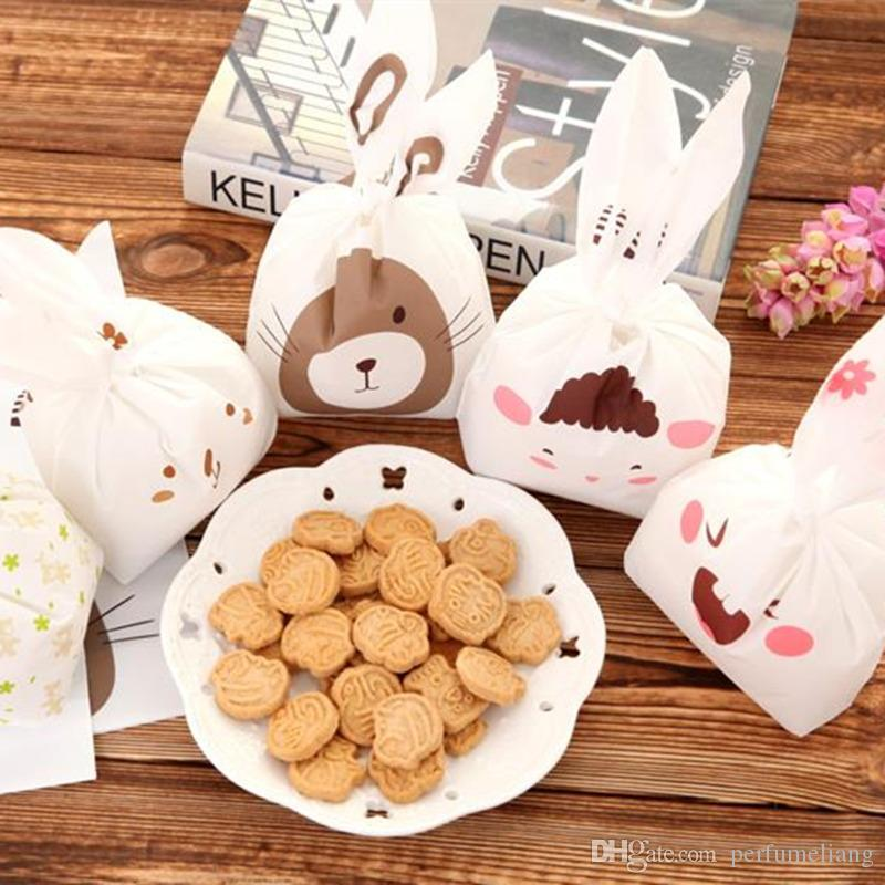Hot Selling 20pcs/set rabbit ear cookie bags plastic candy Biscuit Packaging Bag Wedding Candy Gift Bags party Supplies F2017210