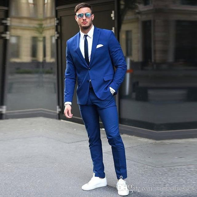 Custom made Two Buttons Royal Blue Men Suits 2017 Fashion Design ...