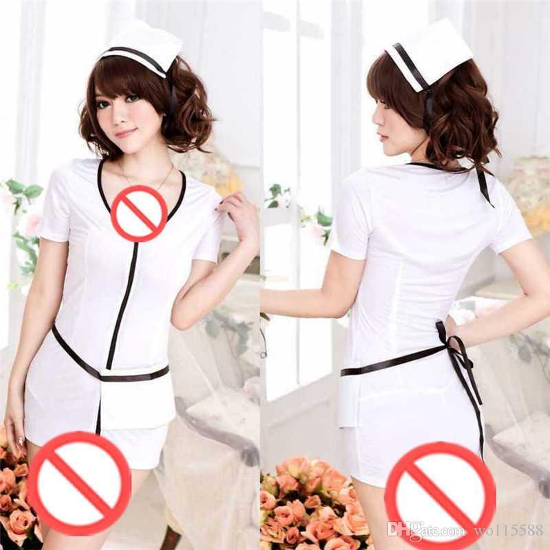 Il ruolo sexy della biancheria di trasporto libero che gioca le uniformi infermiere dell'adulto contiene il vestito trasparente della biancheria sexy dell'adulto il sig