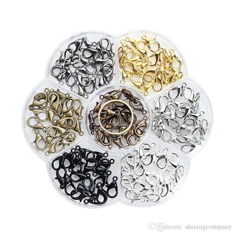 Fashion Jewelry Findings 1000pcs Lobster Clasps Hooks Gold Silver Ancient Bronze For Jewelry Making Necklace Bracelet Chain DIY