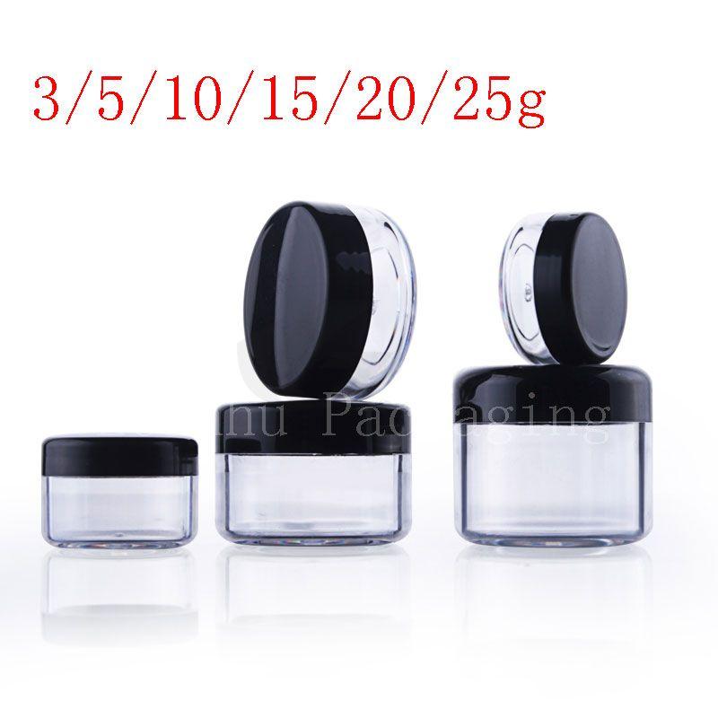 Boş şeffaf küçük yuvarlak plastik ekran pot temizle kozmetik krem kavanoz balsamı konteyner Mini örnek konteyner ambalaj