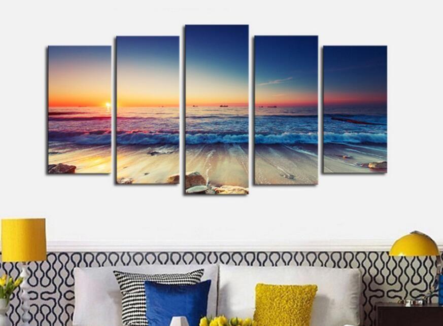 5 Piece Nature Rock Ocean Sunset Beach Canvas Wall Art Picture Print Home Decor