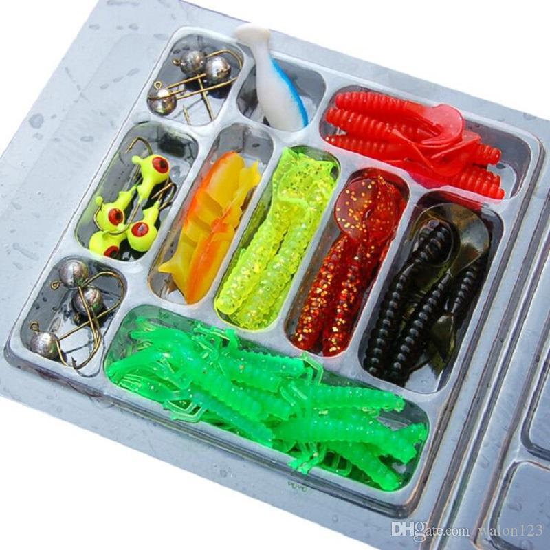 Hlq Fishing Lure Set 35pcs cebos de pesca de gusano suave 10 Lead Jig Head ganchos señuelos de simulación envío gratis