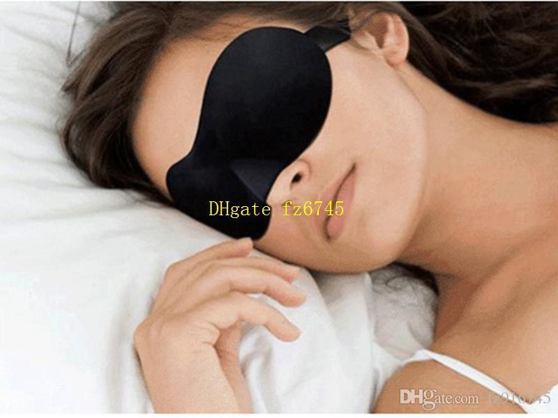 10pcs / lot Livraison gratuite Hot ventes 3D Sommeil Masque pour les yeux Voyage sommeil Masques éponge couverture Blindfold ombre Eyeshade eyemask couleur Noir