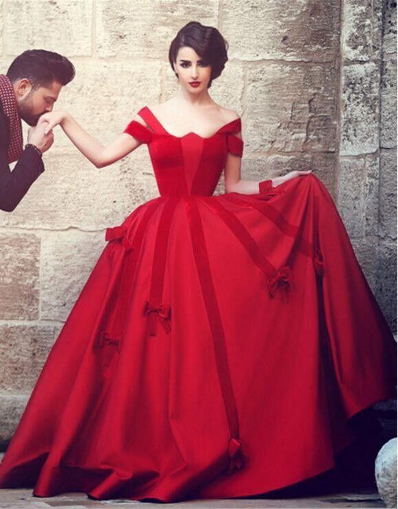 Elegant Long Red Evening Dresses Unique Heart Shaped Neck Bows Off ...