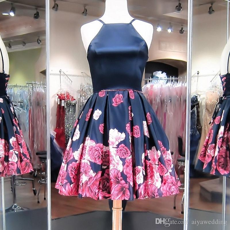 Dark Navy Short Prom Dresses Red Floral Printed Satin A-Line Knee Length Skirt Corset Low Back Formal Cocktail Homecoming Gowns Cheap 2019