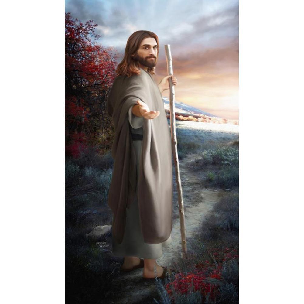 ديي الماس اللوحة التطريز 5d جميلة المسيحية يسوع عبر غرزة الكريستال مربع unfinish نوم جدار الفن ديكور المنزل الحرفية هدية
