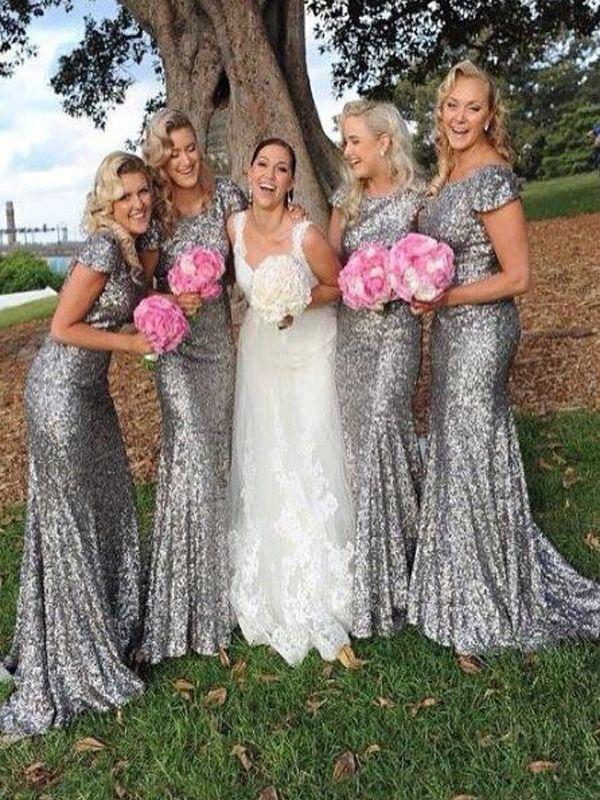 Sirena de lentejuelas grises Vestidos de dama de honor modestos largos largos con tapa con cuello de joyas de joya de estilo rural, camas de honor, camas de honor.