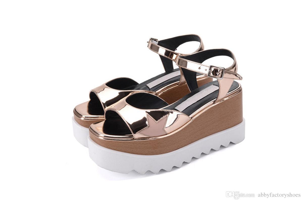 newest 8337a 529d0 Acquista Stella Mccartney Elyse Sandali Sandali Con Zeppa Con Plateau  Fashion Novità Scarpe Casual Sandali Estivi Flats Tacchi Lady Open Toe  Sandalias ...