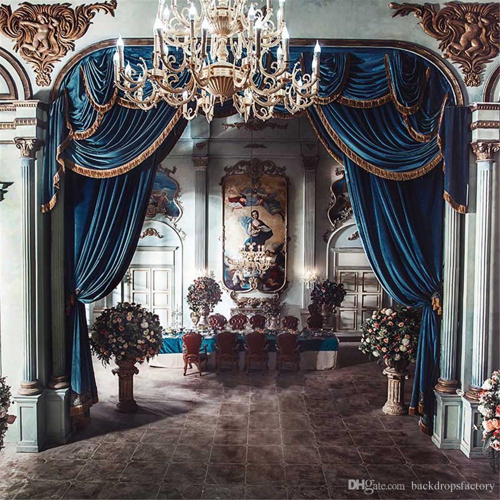 الداخلية قلعة الزفاف التصوير خلفية الأزرق الستار الكريستال الثريا ستون أعمدة فريسكو خمر استوديو الصور خلفية النسيج