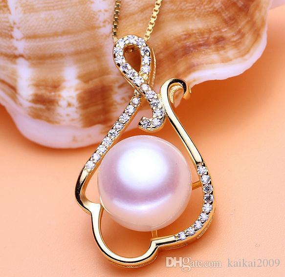 Heiße Verkaufsfrau 11-12mm oblate hängende Halskette der natürlichen Perle 925 silberne Allergieverhinderung DZ0154