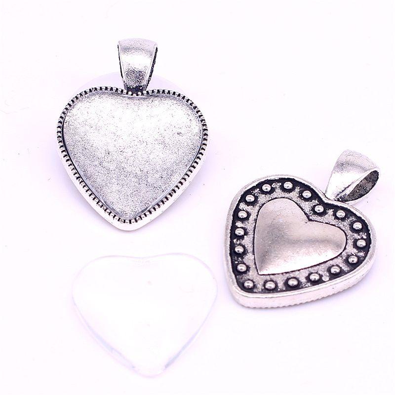 Сладкий колокол 10 комплект Камея сердце кабошон настройки подходят 20 мм Диаметр Античное серебро фото очарование кулон + прозрачное стекло кабошоны D0881-1