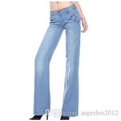 Compre Nueva Moda De Algodon De Las Mujeres Pantalones Vaqueros Largos Casual Pantalones De Mezclilla Recta Clasico De Pierna Ancha Pantalones Vaqueros Abiertos Cintura Mediados De Pantalones De Mezclilla Lavada Xmy1788 A