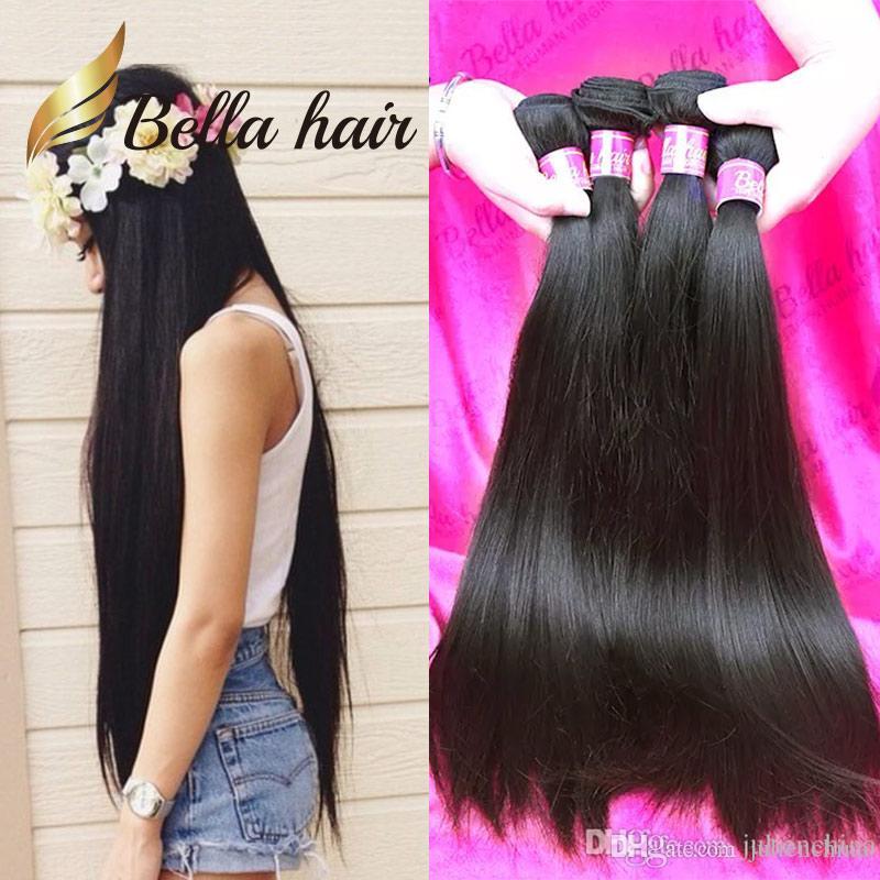 Bella Hair® 4pcs 11a 더블 익사 브라질 버진 헤어 번들 페루 스트레이트 헤어 짜다 처리되지 않은 원시 인도 인간의 머리카락 확장
