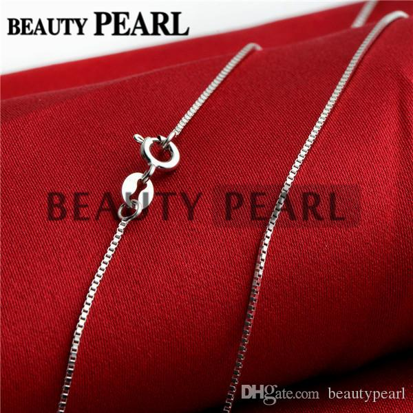 Sterling Silver DIY Jewelry Necklace Collar 0.8mm 925 Sterling Silver Box Chain Wholesale 5 Pieces