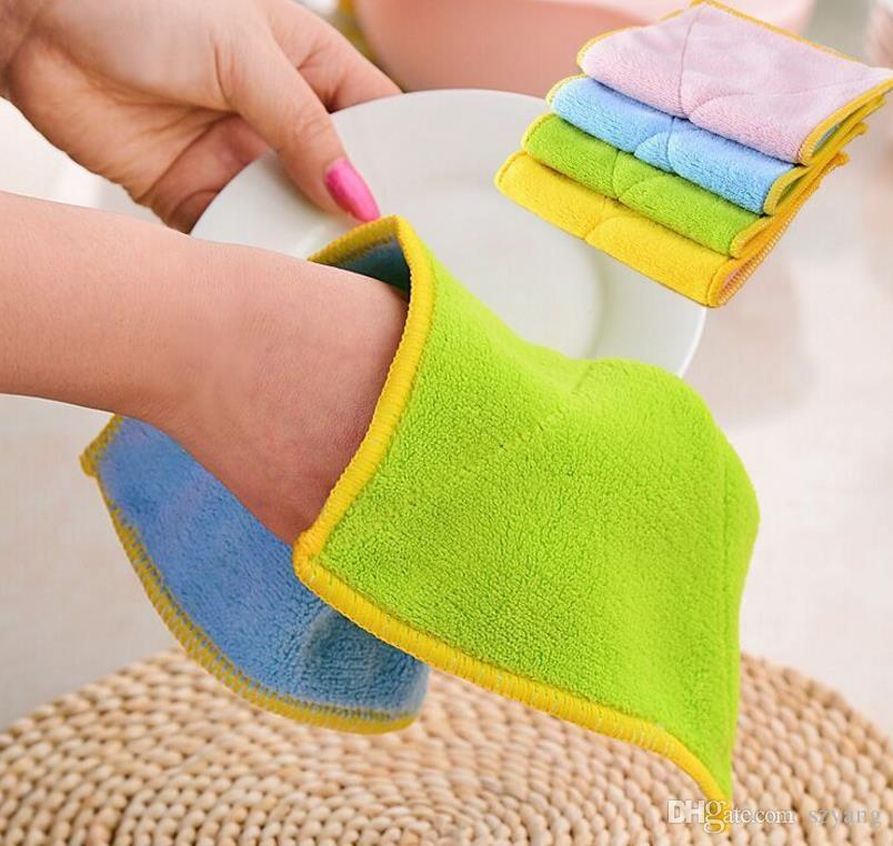 300pcs High Efficient Anti-grease Color Dish Cloth Microfiber Washing Towel Magic Kitchen Cleaning Wiping Rags Wholesale