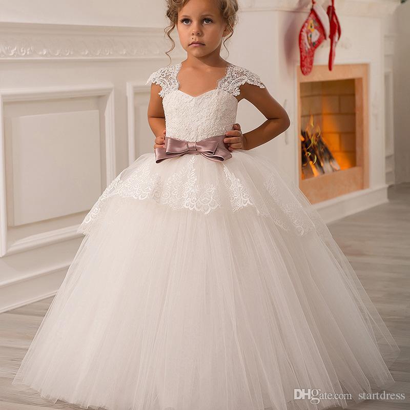 Designer Lace Ball Gown Flower Girl Dresses Puffy Junior Princess Kids  Wedding Dresses Cap Sleeve Purple Bow Beauty Toddler Pageant Dresses Little