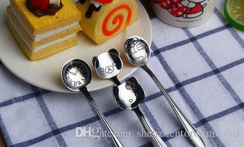 Cuchara de café con forma de animal creativa de cartón de acero inoxidable Cuchara de helado con cuchara de postre infantil