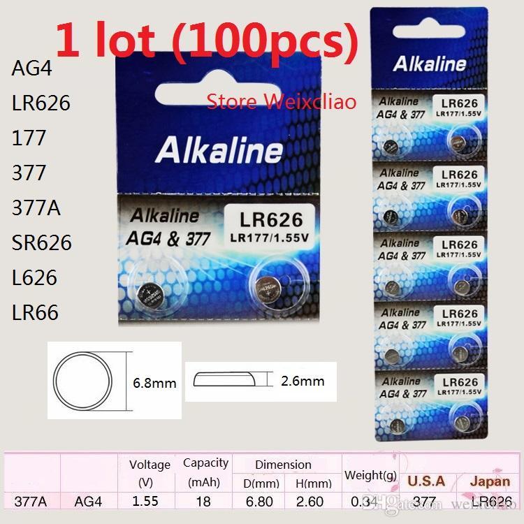 100 قطع 1 وحدة AG4 LR626 177 377 377A SR626 L626 LR66 1.55 فولت بطاريات زر خلية البطارية القلوية شحن مجاني