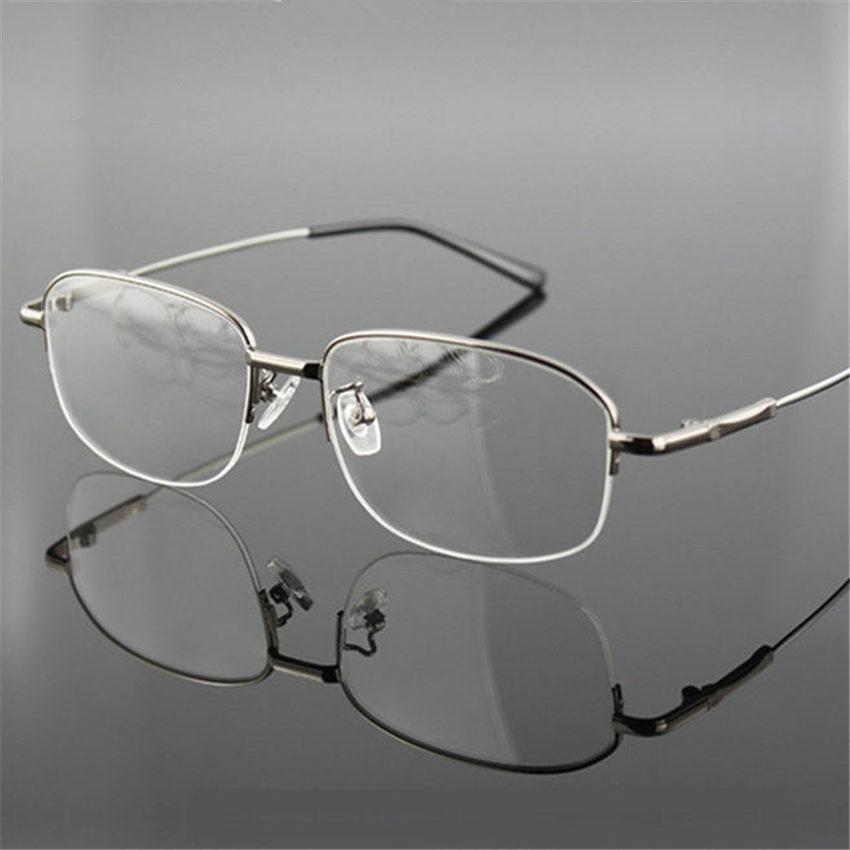 Оптовая продажа-титановые очки памяти половина сплава кадр оптические очки кадр Мужчины Женщины ретро половина кадра очки по рецепту кадров