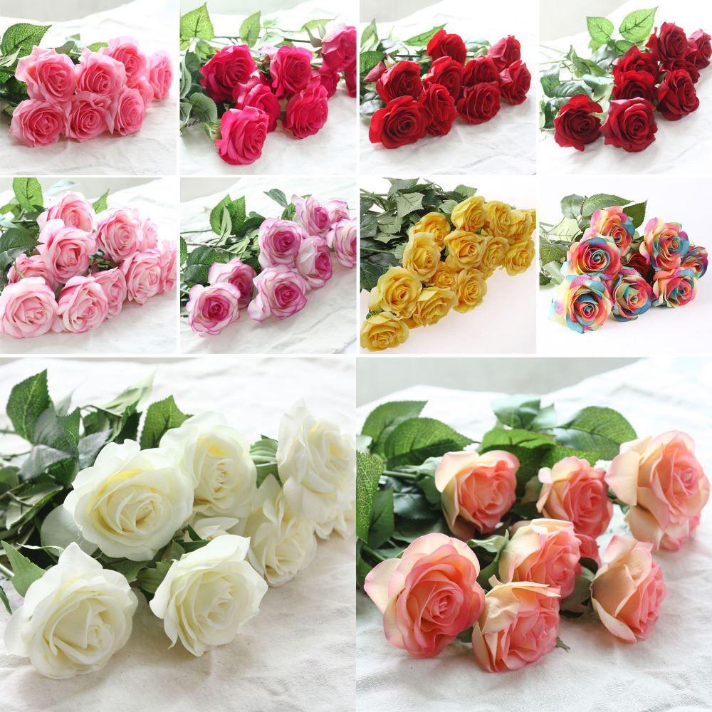 10pcs / décoration de lot rose artificielle fleurs de soie fleurs floraux latex réel toucher rose bouquet de mariée bouquet home fête design fleurs