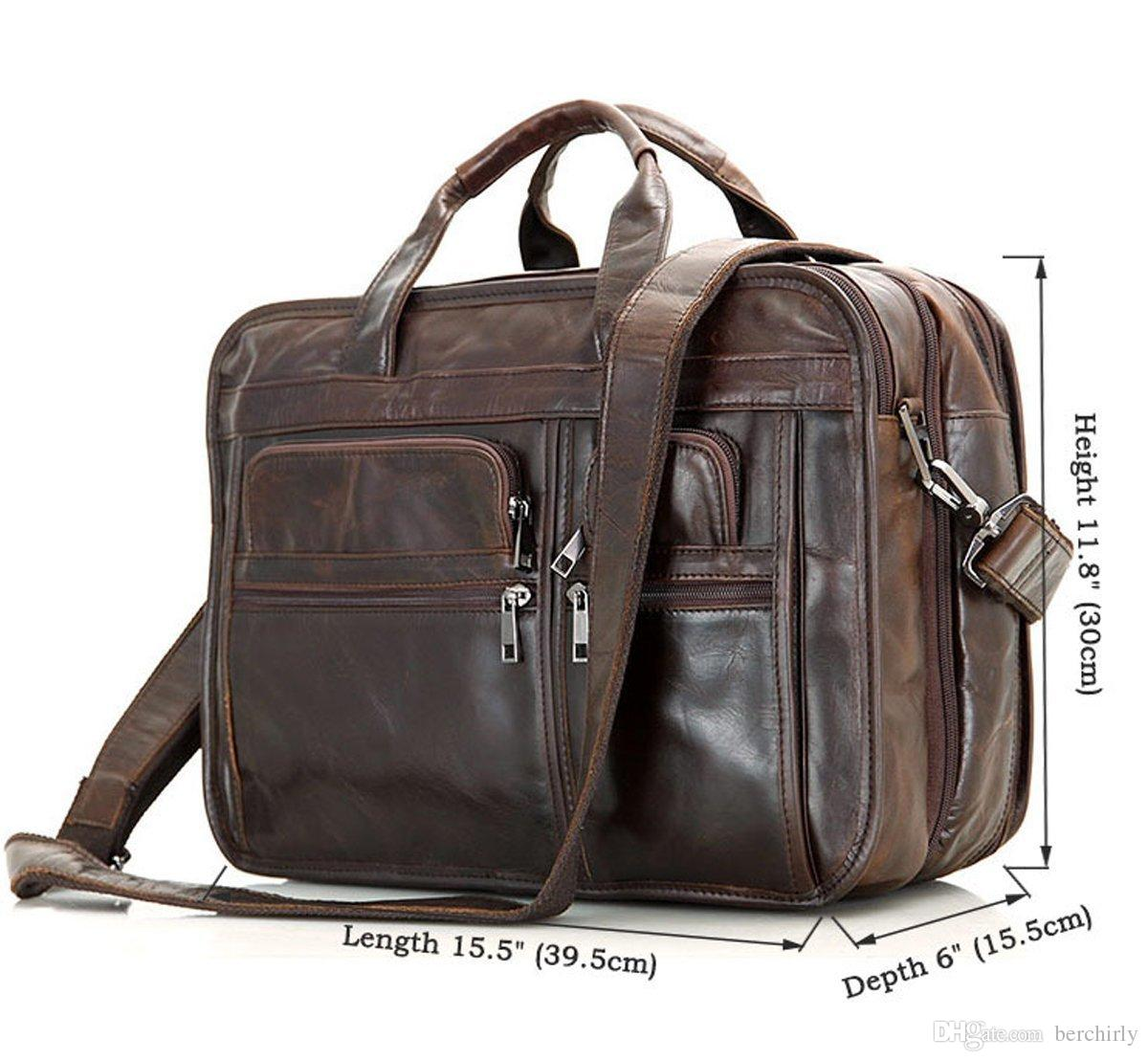 Leather men bag business briefcase