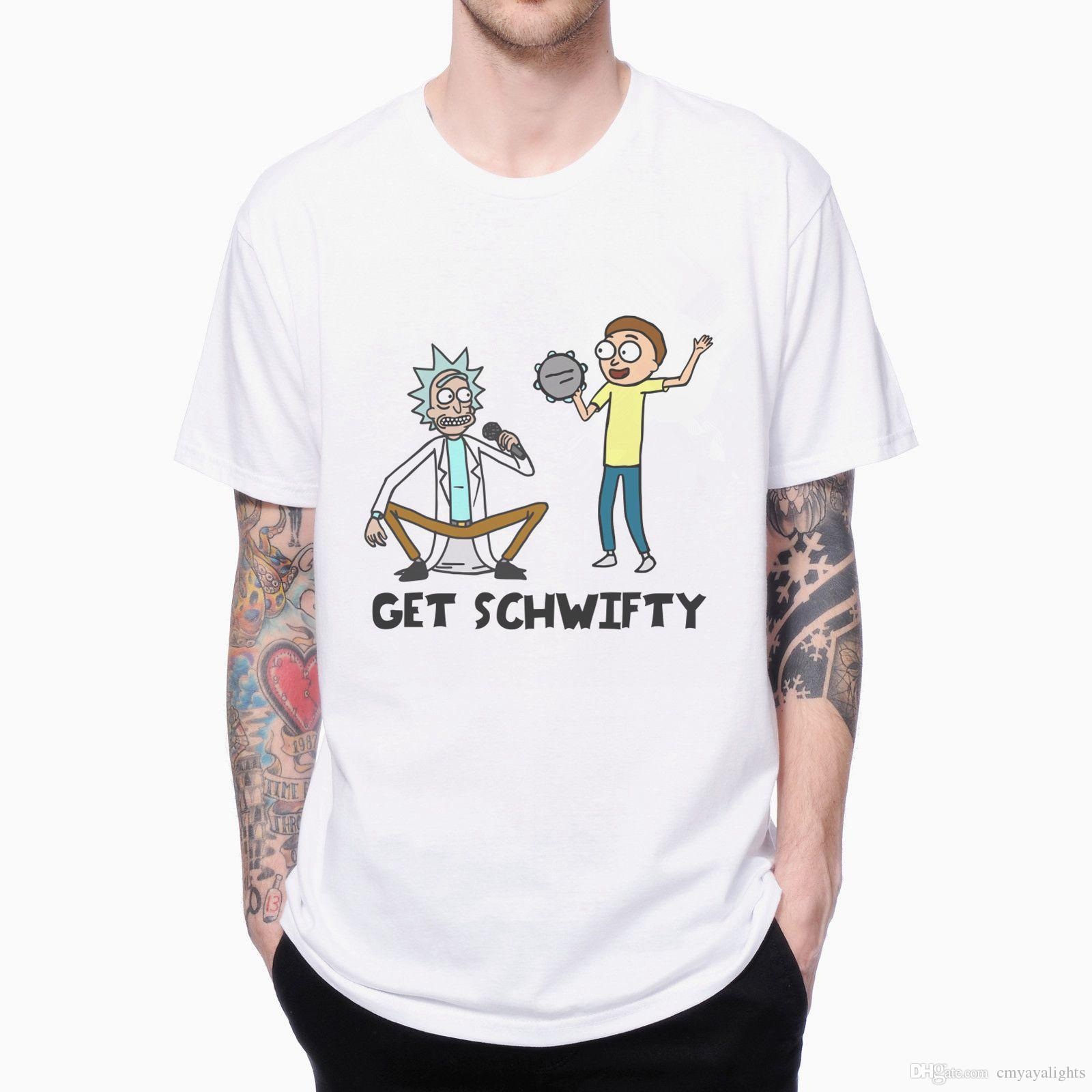 GET SCHWIFTY RICK AND MORTY T-SHIRT 1609520 CARTOON 3D PRINTED Men's T-shirts FASHION MALE SHORT SLEEVE O-NECK WHITE TEE PLUS EUROPE SIZE