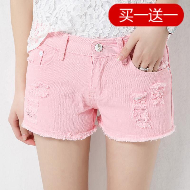 Pantalones cortos de mezclilla con agujero blanco de verano hembra coreana suelta pantalones de pierna ancha y delgada código de destello cortos de estudiante